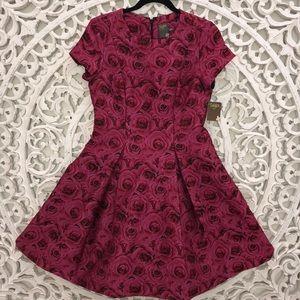 TAYLOR Rose & Black Jacquard Fit & Flare Dress 6